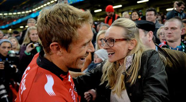 Toulon captain Jonny Wilkinson and his wife Shelley following his side's victory. Heineken Cup Final, Toulon v Saracens. Millennium Stadium, Cardiff, Wales