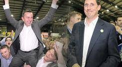 A jubilant Brian Hayes and a bemused Eamon Ryan the RDS count centre