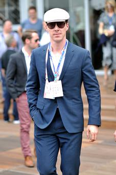 Benedict Cumberbatch onboard the Red Bull Energy Station during the Monaco Formula One Grand Prix at Circuit de Monaco on May 25, 2014 in Monte-Carlo, Monaco. (Photo by Gareth Cattermole/Getty Images)