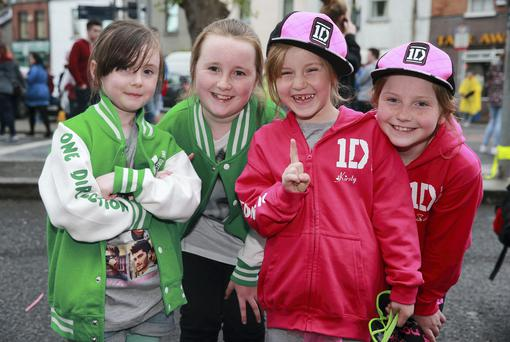 25/5/14 One Direction fans Abby(6) and Rebecca (9) Higgins and Jirsty (6) and Zoe (8) Clelland, Dundalk on their way to see the band at Croke Park