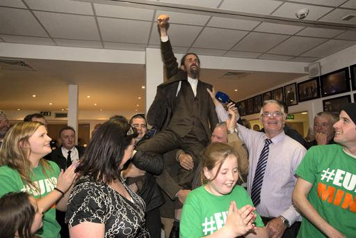 Luke 'Ming' Flanagan celebrates with his wife Judy and daughters Isabelle and Katie and supporters at the count centre for the European elections in the TF Royal Hotel, Castlebar. Co. Mayo. Photo: Keith Heneghan