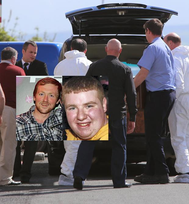 The body of Oisin Crawford (inset right) is removed from the house; his friend Simon Lynch (inset left) is on life support