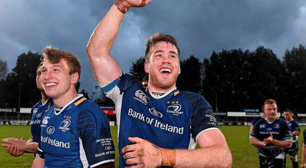 Leinster A's Dominic Ryan and team-mate Brendan Macken, left, celebrate after the British & Irish Cup victory over Leeds Carnegie