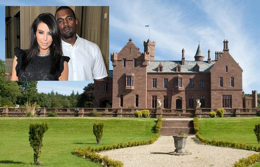 Castle Oliver where Kim and Kanye (inset) are rumoured to be staying