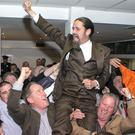 Luke 'Ming' Flanagan celebrates winning his European seat at the European Count in Castlebar,Mayo