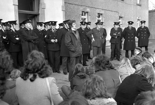 Eamon Gilmore, then president of the UCG (now NUI Galway), speaking to protesting students at the Galway County Buildings at Prospect Hill in Galway on December 5 1974.