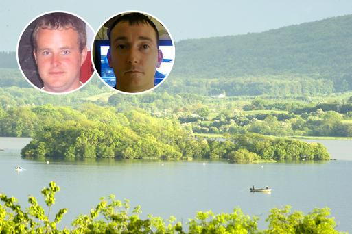 Inchicup island, Lough Sheelin, Co Cavan, where gardai discovered remains belonging to Eoin O'Connor, left inset, and Anthony Keegan after a month long search