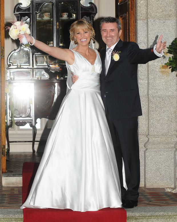 Martin King and Jenny McCarthy marry at Killashee House Hotel, Naas, Kildare, Dublin, Ireland - 07.11.11. Pictures: VIPIRELAND.COM *** Local Caption *** Jenny McCarthy, Martin King