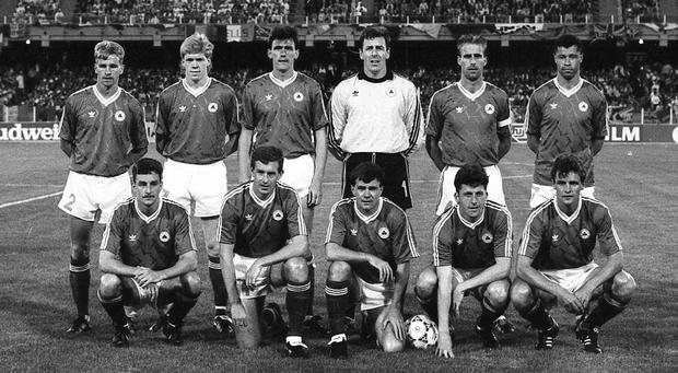 The Ireland team that faced England in Cagliari on June 11th 1990