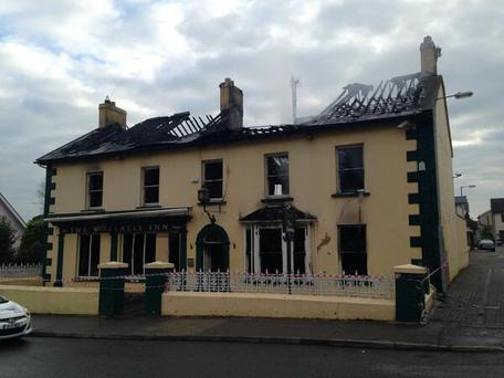 Worralls Inn, Castleconnell after the fire last night.