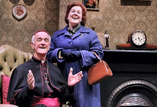 Pictured during a dress rehearsal yesterday for John B. Keane's Moll which opens this Thursday at the Gaiety was actress Clare Barrett who plays Moll with Frank Kelly playing His Lordship The Bishop.