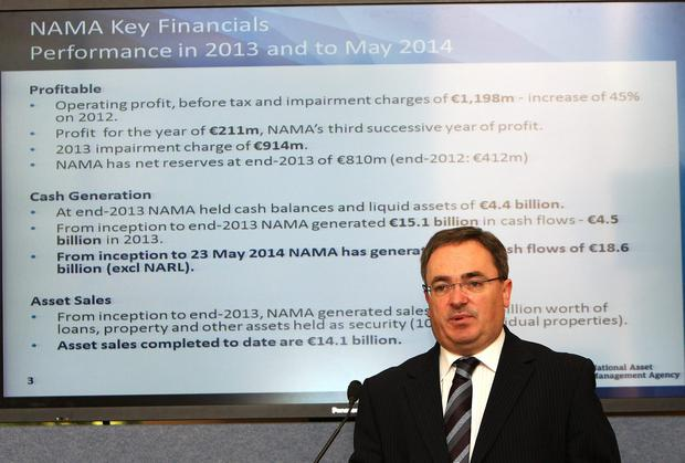 Brendan McDonagh, Chief Executive, speaking at the publication of NAMA's (National Asset Management Agency) Annual Report and Financial Statements for 2013 yesterday. Picture credit Tom Burke
