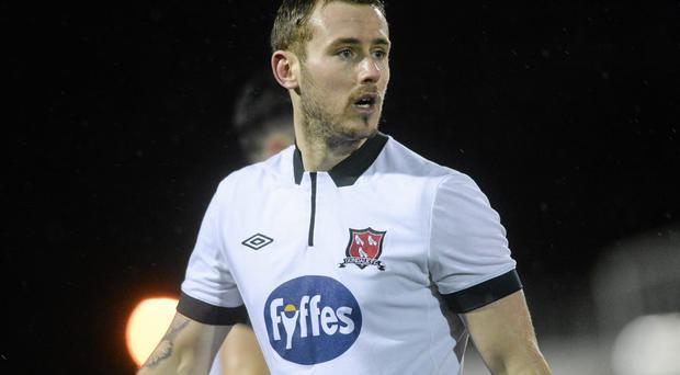 Kurtis Byrne scored Dundalk's second goal with a low drive from 20 yards. Photo: Paul Mohan / SPORTSFILE