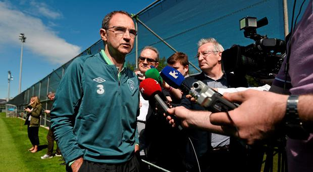 Martin O'Neill speaks at a press conference yesterday ahead of Ireland's friendly against Italy on Saturday. Photo: David Maher / SPORTSFILE