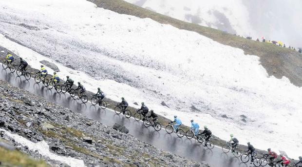 Nicolas Roche of the Tinkoff-Saxo team leads the 'maglia rosa' group up the slopes of the Stelvio Pass during yesterday's stage 16 of the Giro d'Italia