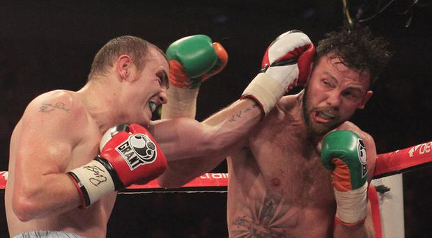 Anthony Fitzgerald in action against Andy Lee