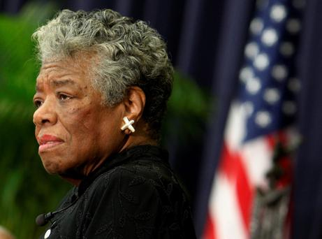 U.S. poet Maya Angelou speaks during a ceremony to honor South African Archbishop Emeritus Desmond Tutu with the J. William Fulbright Prize for International Understanding Award in Washington in 2008