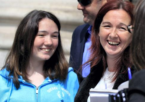 KAVANAGH: ( LAURA); COURT APPROVES SETTLEMENT OF E5 MILLION IN PERSONAL INJURIES ACTION FOR DAMAGES FOR THE PLAINTIFF -LAURA KAVANAGH-SUING THROUGH HER MOTHER, SIMONE, HIGH COURT, DUBLIN, (28/5/14).*******See Hi Ct story.******Plaintiff now 18 yrs of age PIC SHOWS: SMILES OF RELIEF ! THE PLAINTIFF LAURA KENNEDY , (18 YRS.) WITH HER MOTHER SIMONE OF NEWTOWNMOUNTKENNEDY, CO WICKLOW LEAVING COURT YESTERDAY (WED.) AFTER THE SETTLEMENT HEARING. (PIC; COURTPIX.)