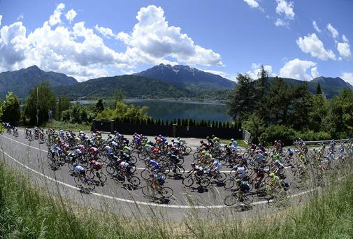 Cyclists pedal during the 17th stage of the Giro d' Italia cycling race from Sarnonico to Vittorio Veneto, Italy. (AP Photo/Fabio Ferrari)