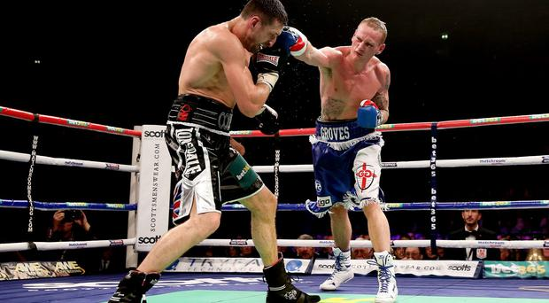 George Groves (R) in action with Carl Froch during their IBF and WBA World Super Middleweight bout in November last year. (Photo by Scott Heavey/Getty Images)