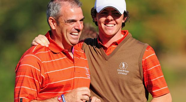 Ryder Cup captain Paul McGinley with Rory McIlroy (Photo by Stuart Franklin/Getty Images)