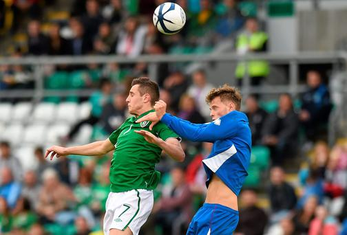 Ireland's Dylan Connolly in action against Adam Örn Arnarsson of Iceland in their European qualifier at Tallaght Stadium. Photo: Matt Browne / SPORTSFILE