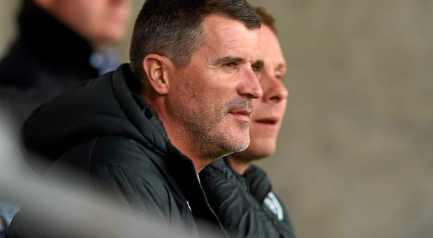 Roy Keane watches the Ireland U19s in action against Iceland in the European Championship game at Tallaght Stadium last night