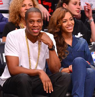 Jay-Z and Beyonce attend the Miami Heat vs Brooklyn Nets game at Barclays Center