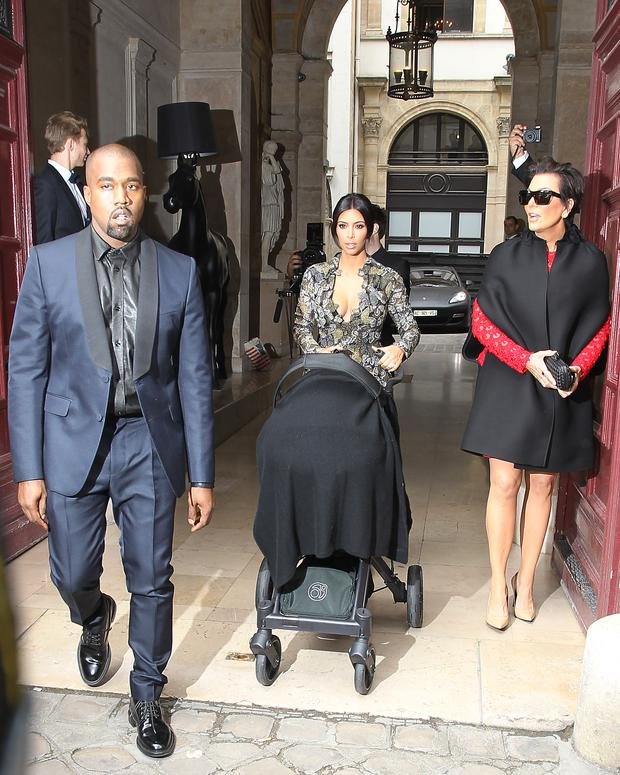 Kanye West, Kim Kardashian and Kris Jenner in Paris