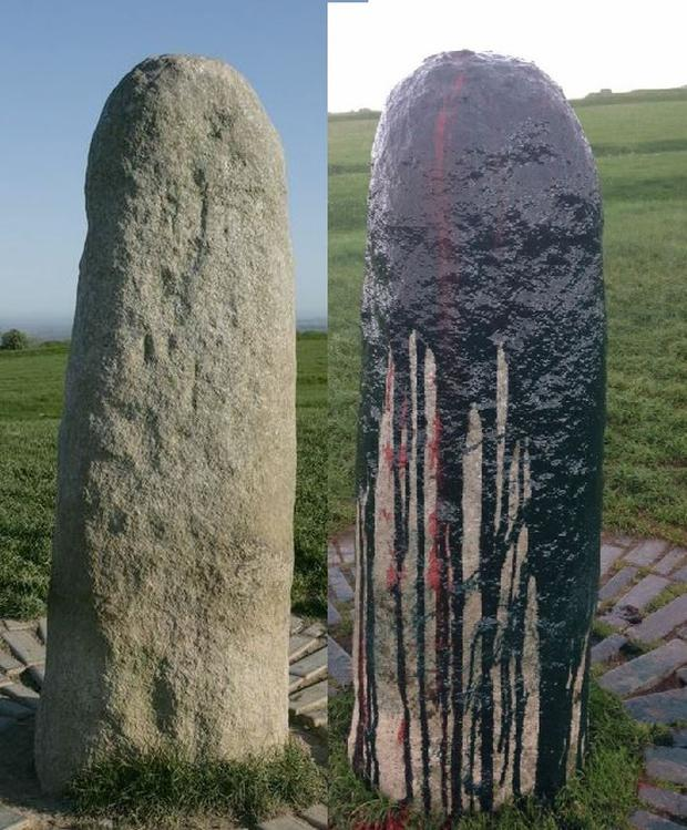 Pictured: Lia Fail Standing Stone at the top of the Hill of Tara in County Meath before and after the damage