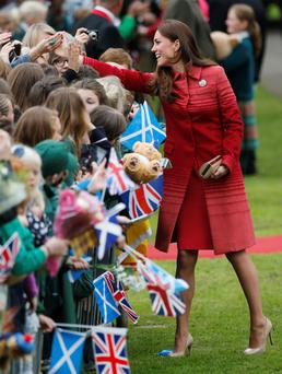 The Duchess of Cambridge arrives at the newly-restored MacRosty Park in Crieff,