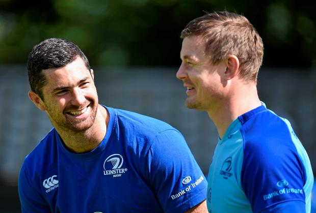 Rob Kearney and Brian O'Driscoll are all smiles in training training ahead of tomorrow's Pro12 final which will be O'Driscoll's final game before he retires
