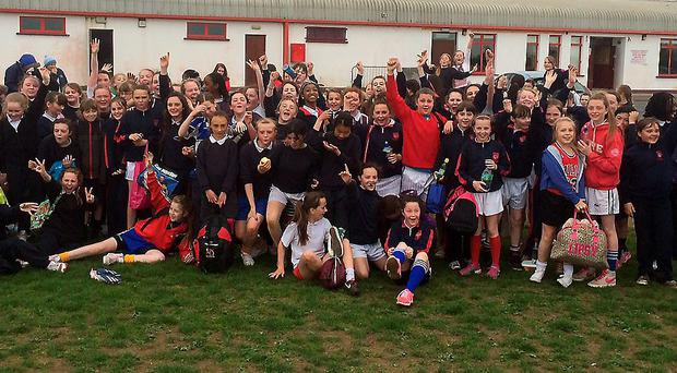 The girls' schools from Monasterevin and Mountmellick enjoyed their afternoon of tag rugby