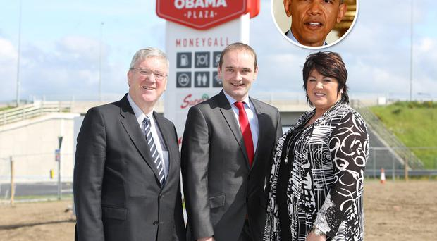 Pat and Una McDonagh, who have developed the Barack Obama Plaza in Moneygall, Co Offaly, with the US president's nearest Irish relative Henry Healy (centre). Inset: Mr Obama