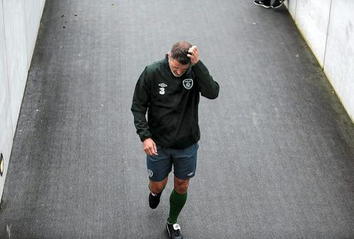 Roy Keane has plenty to ponder as he leaves the Aviva Stadium yesterday after Ireland's training session