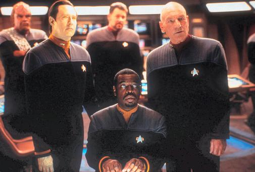 Film still showing actor Patrick Stewart as Captain Jean-Luc Picard (right) in Star Trek X: Nemesis. PA