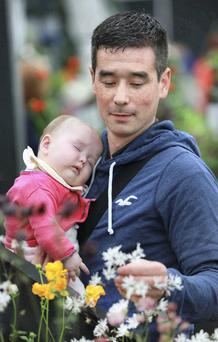 John Eivers with his 6-month-old daughter Lauren at Bloom in the Phoenix Park , Dublin. Photo: Gary O Neill Gary O Neill