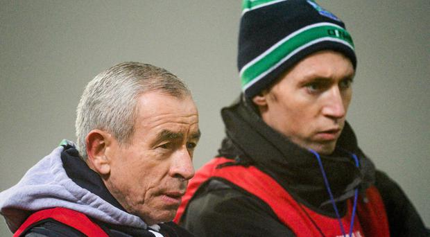 Pete McGrath, Fermanagh manager, left, and his assistant Raymond Johnston
