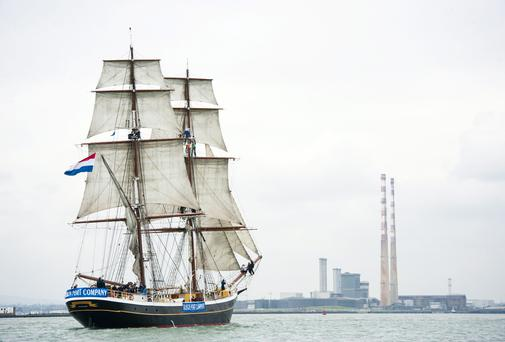 Pictured is the Morgenster arriving into city centre ahead of Riverfest this Bank Holiday weekend. A total of seven Tall Ships have berthed on North Wall Quay ahead of the festival. Photo: El Keegan