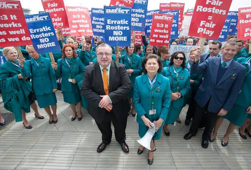 Impact assistant general secretary Michael Landers & Aer Lingus cabin crew supervisor Angela McNeela during a 24 hour strike over rosters at Dublin Airport, Dublin. Photo: Gareth Chaney Collins