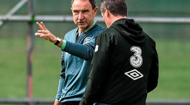 Ireland manager Martin O'Neill and his assistant Roy Keane talk tactics during a training session this week. Photo: David Maher / SPORTSFILE