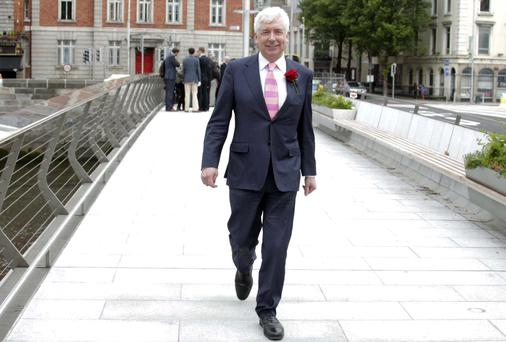 Alex White confirmed he will contest the leadership of the Labour Party at a press briefing on the Rosie Hackett Bridge in Dublin. Picture: Stephen Collins/Collins Photos