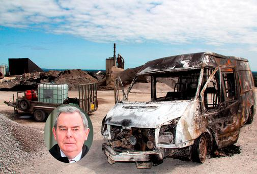 A burnt out vandalised vehicle at Sean Quinn's (inset) Tarmac Plant in Ballyconnell, Co. Cavan earlier this year