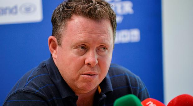 27 May 2014; Leinster head coach Matt O'Connor during a press conference ahead of their RaboDirect PRO12 final against Glasgow Warriors on Saturday. Leinster Rugby Press Conference, Rosemount, UCD, Belfield, Dublin. Picture credit: Piaras O Midheach / SPORTSFILE