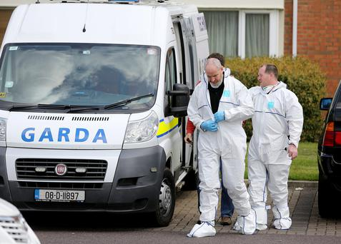 The scene in Ongar Annally Grove in west Dublin where a man mwas murder in the early hours of this morning. Picture; GERRY MOONEY. 31/5/14
