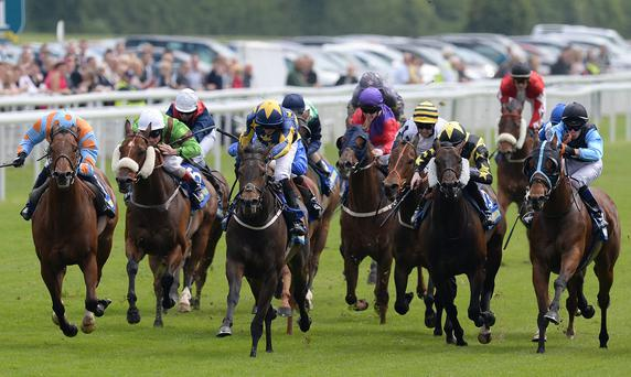 Top Boy (18) ridden by Adam McLean (R) wins The Bet Bright Trophy at York to give one Dublin punter a massive payout