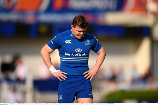 Leinster's Brian O'Driscoll before having to leave the field with a knee injury that cut short his final game