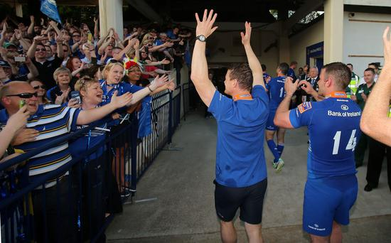 Leinster's Brian O'Driscoll waves to fans after winning the RaboDirect PRO12 Final at the RDS