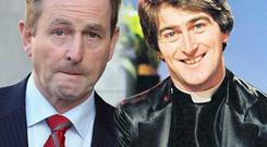 Enda Kenny and Dermot Morgan as Fr Trendy. Photos: Tom Burke/RTE Stills Library