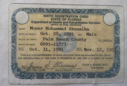 Florida birth registration card for Moner Mohammad Abu-Salha is seen in this government handout image. The U.S. State Department on May 30, 2014 confirmed that an American citizen, Moner Mohammad, had carried out a suicide bombing in Syria. A U.S. security official said U.S. agencies were aware before the suicide bombing that the American had traveled to Syria to join militants. The official declined to give further details. REUTERS/State of Florida/Handout via Reuters